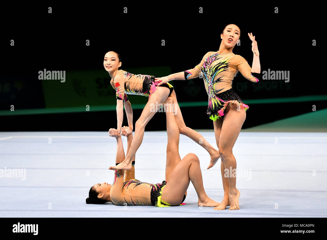 Antwerp, Belgium, 14 April 2018. The Chinese Women's Team performs in Women's Group  during the 26th World Championships Acrobatics Gymnastics 2018 at Lotto Arena on Saturday, 14 April 2018. A Credit: Taka Wu/Alamy Live News - Stock Image
