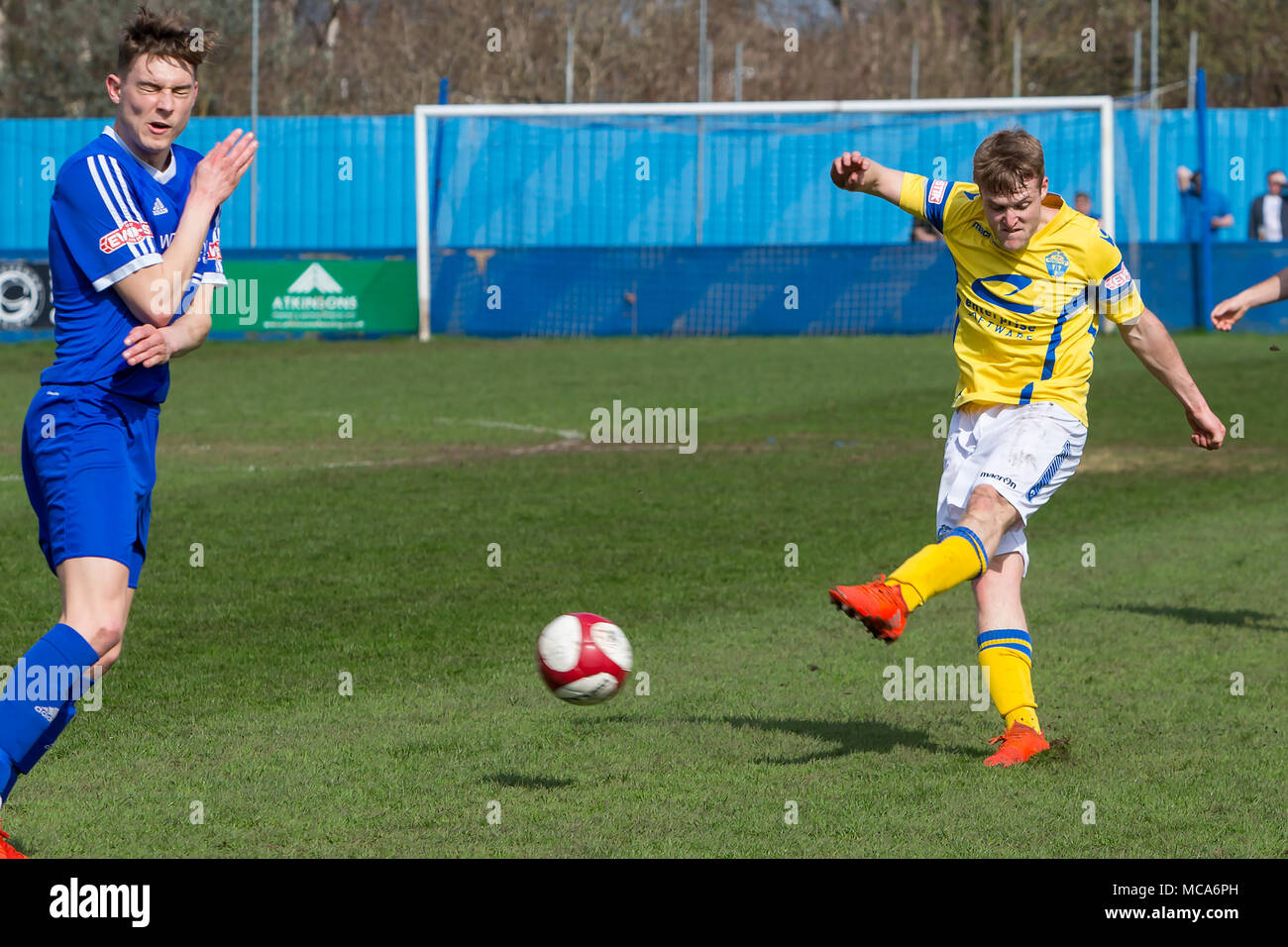 Farsley, UK, 14 April 2018. Warrington Town's midfielder, Will Hayhurst, scores the first goal against Farsley Celtic during Warrington's 2-0 win on Saturday 14 April 2018 in the top of the table clash near the end of the season Credit: John Hopkins/Alamy Live News Credit: John Hopkins/Alamy Live News - Stock Image
