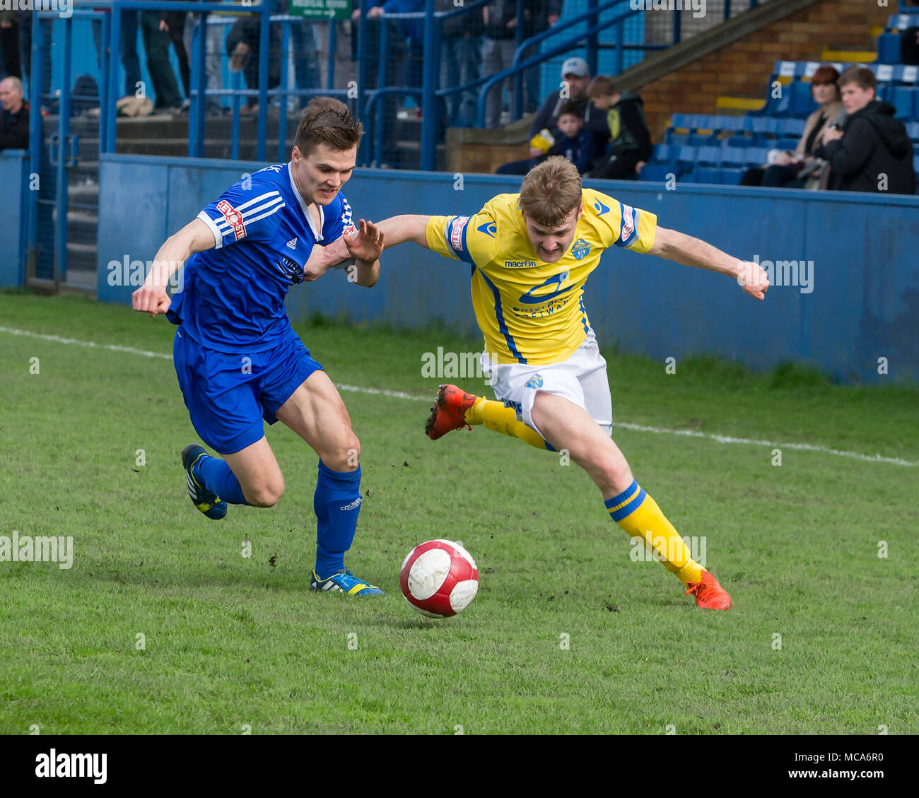 Farsley, UK, 14 April 2018. Warrington Town's Will Hayhurst chases the ball against Farsley Celtic during Warrington's 2-0 win on Saturday 14 April 2018 in the top of the table clash near the end of the season Credit: John Hopkins/Alamy Live News Credit: John Hopkins/Alamy Live News - Stock Image