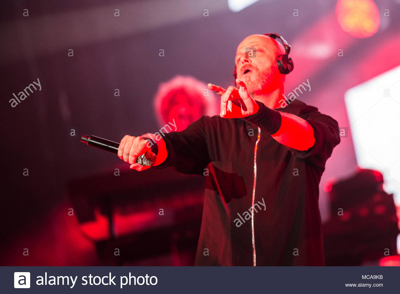 Milan, Italy. 14th Apr, 2018. Italian band Negrita performs live on stage in Milan at Mediolanum forum on April 14, 2018 for the last date of 'DEsert Yacht Club' tour Credit: ELENA DI VINCENZO/Alamy Live News - Stock Image