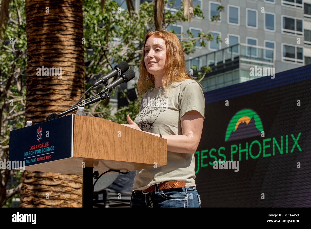 Los Angeles, California, USA. 14th Apr, 2018. Volcanologist JESS PHOENIX, a candidate for Congress in California's 25th District, speaks at the 2018 March for Science Los Angeles Rally and Expo in Pershing Square. Credit: Brian Cahn/ZUMA Wire/Alamy Live News - Stock Image