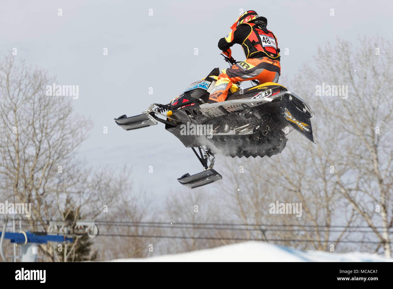 Quebec, Canada. 14th April 2018. La Reserve ski hill in Saint-Donat end their season with the Red Bull Sledhammers Championship. Credit: richard prudhomme/Alamy Live News - Stock Image