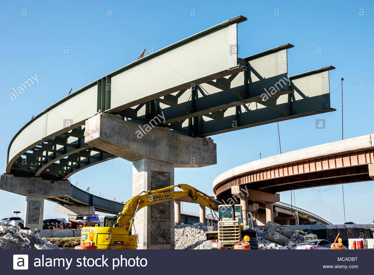 Florida Miami LeJeune Road roadway construction highway expressway flyover bridge overpass curve steel beams unfinished - Stock Image
