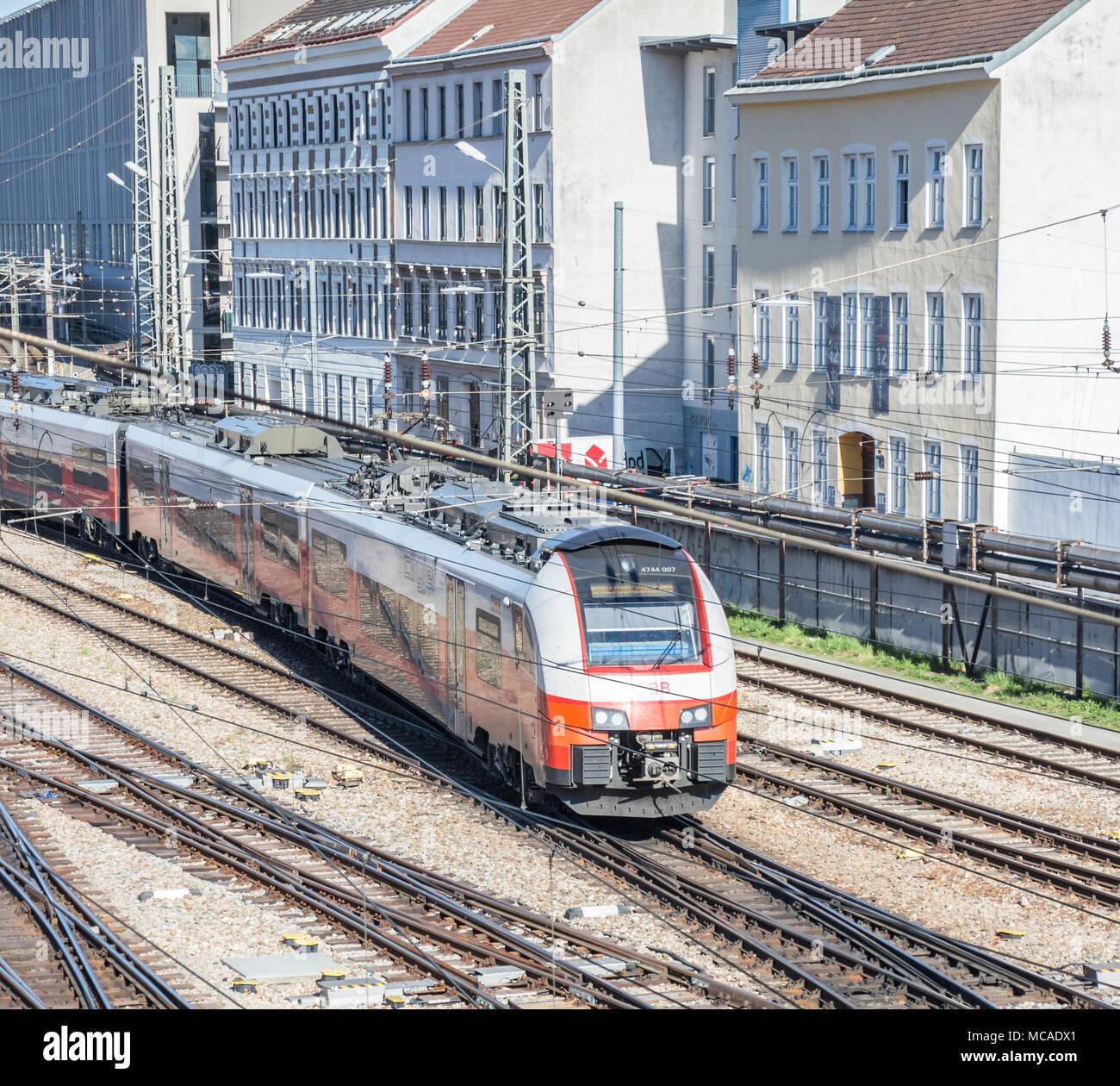 Austrian Federal Railways OBB city jet from above, Vienna Austria, April 14, 2018 - Stock Image
