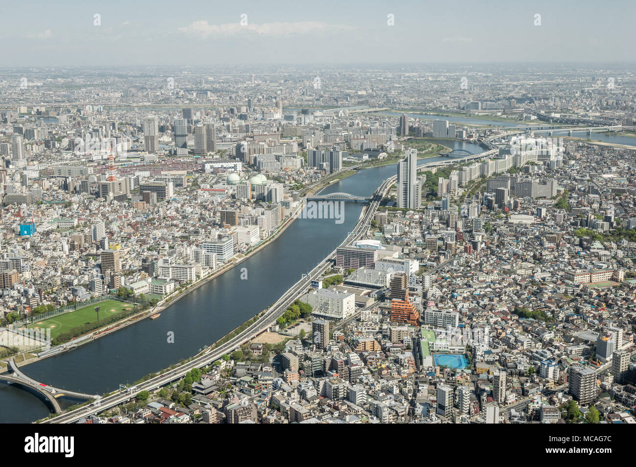 Panoramic View of Tokyo City from the Top of Tokyo Skytree - Stock Image