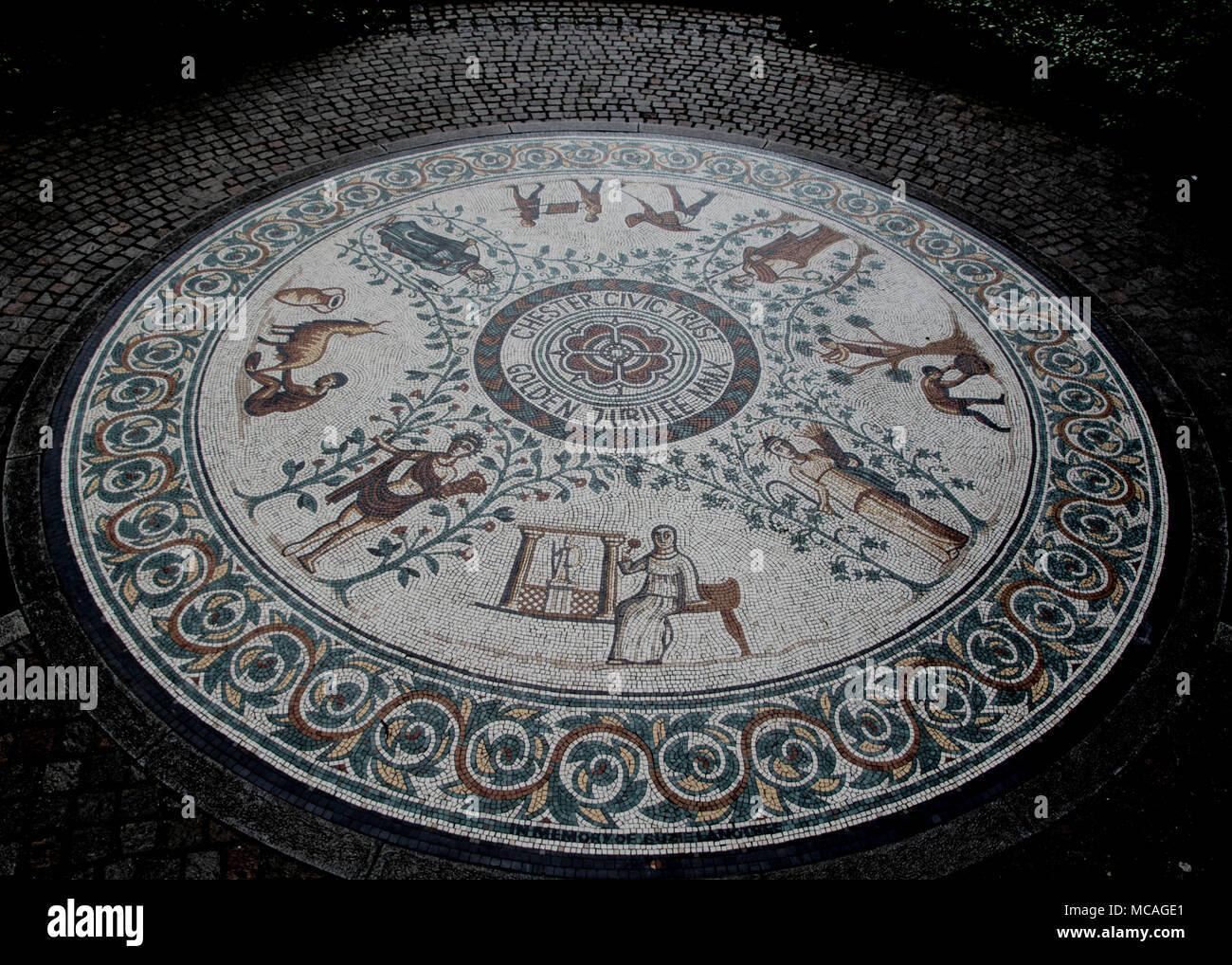 Chester Roman garden mosaic - Stock Image