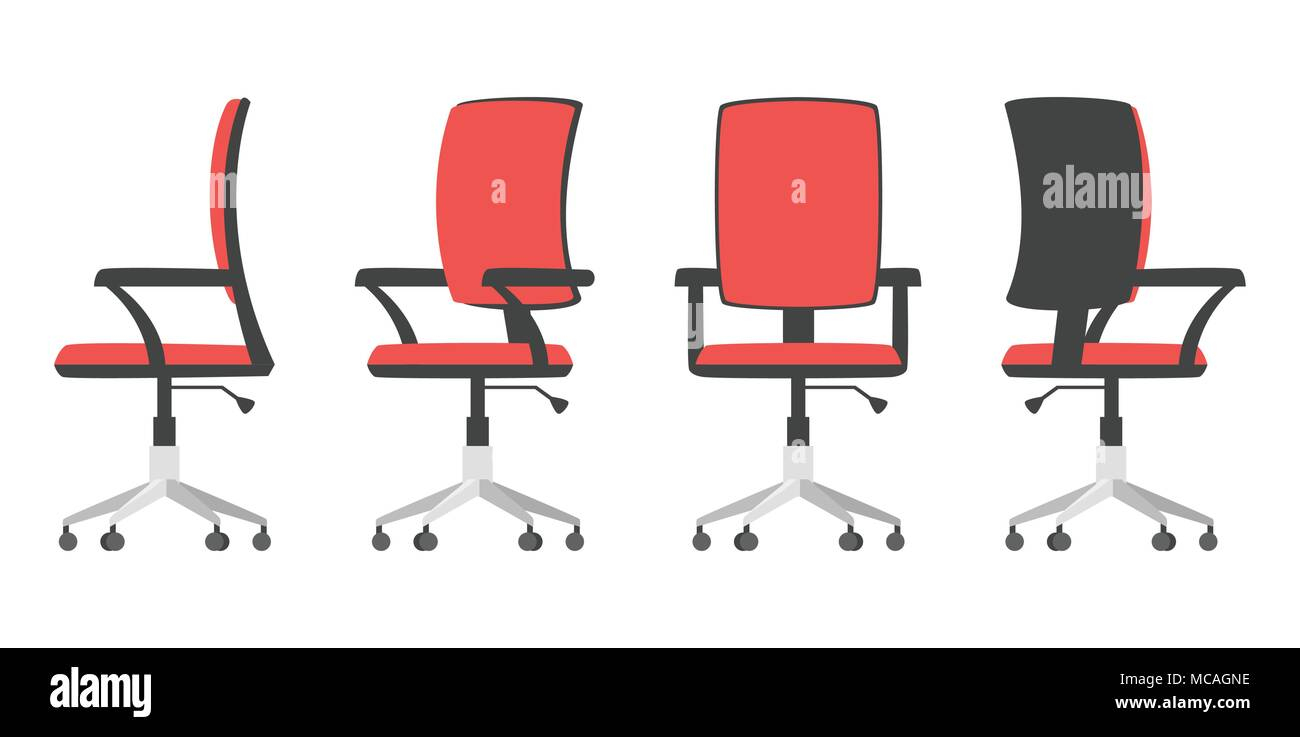 Vector cartoon style illustration of office chair from different point of view. Isolated on white background. - Stock Image