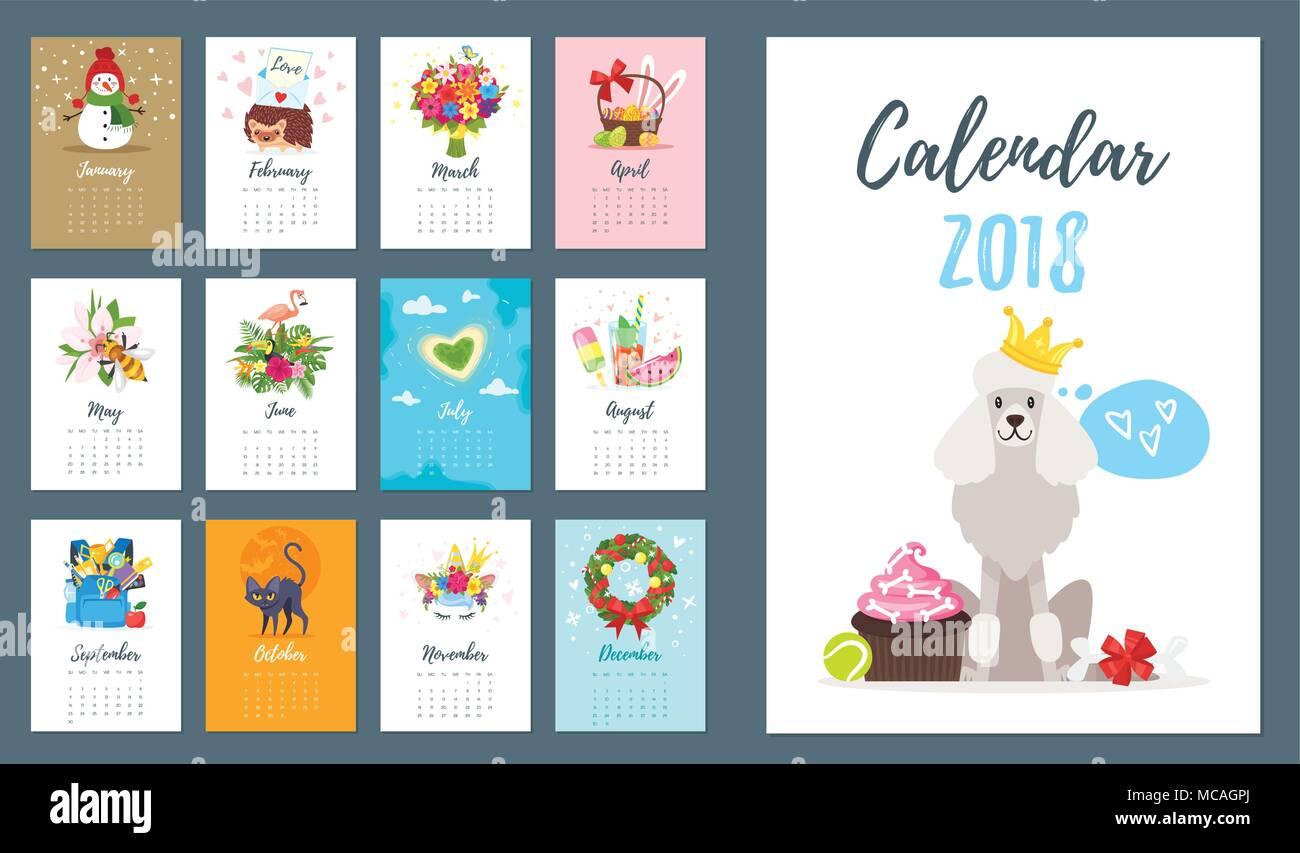 Vector Cartoon Style Illustration Of 2018 Dog Year Monthly Calendar