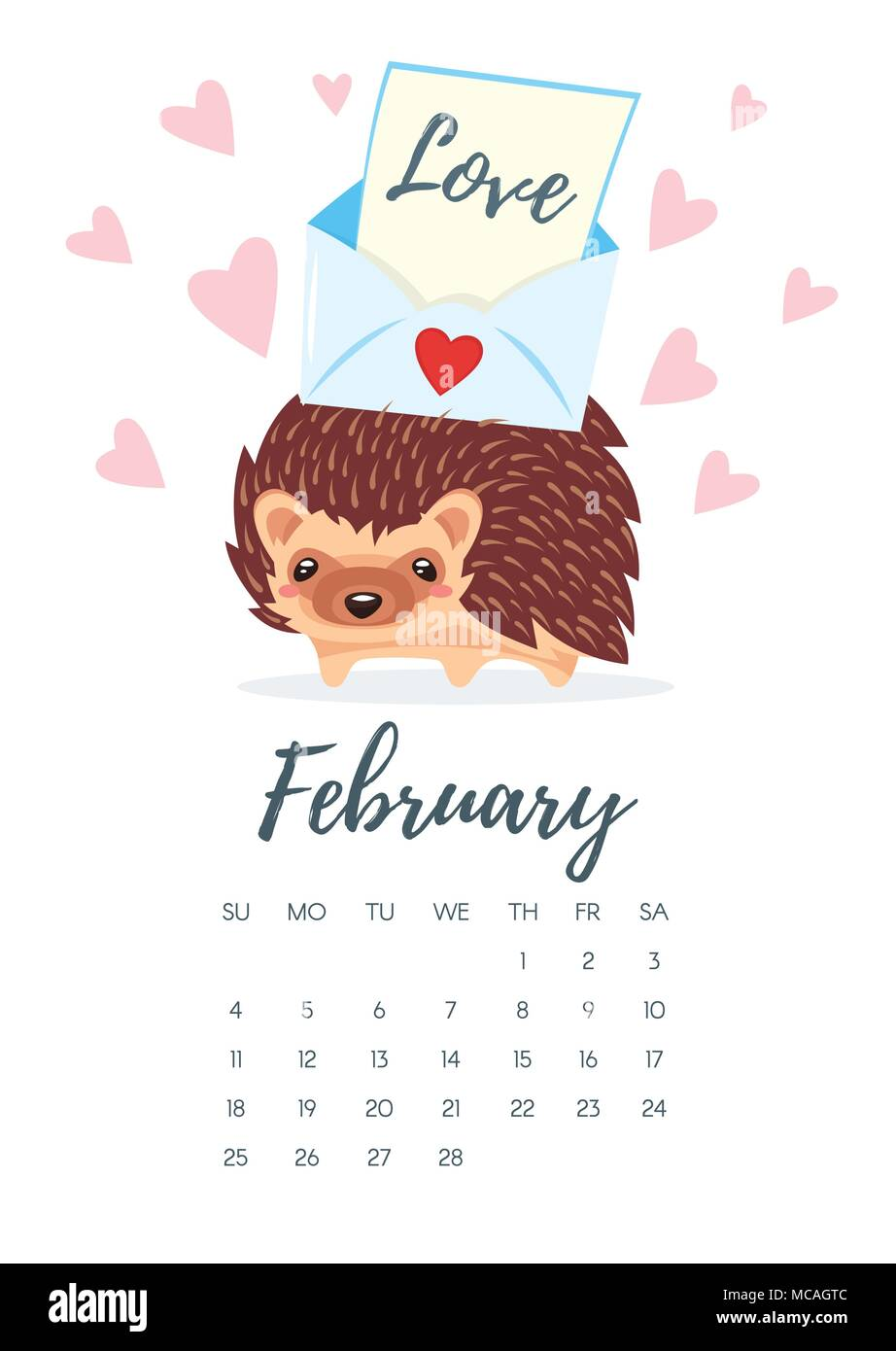 Vector cartoon style illustration of February 2018 year calendar page with hedgehog with colorful letter on his back. Template for print. - Stock Image