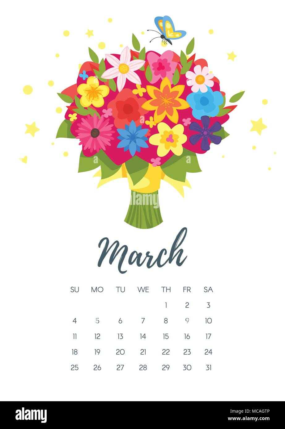 vector cartoon style illustration of march 2018 year calendar page with flower bouquet template for print