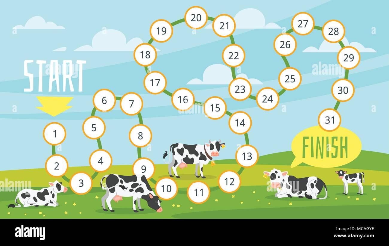 Vector cartoon style illustration of kids farm board game template ...