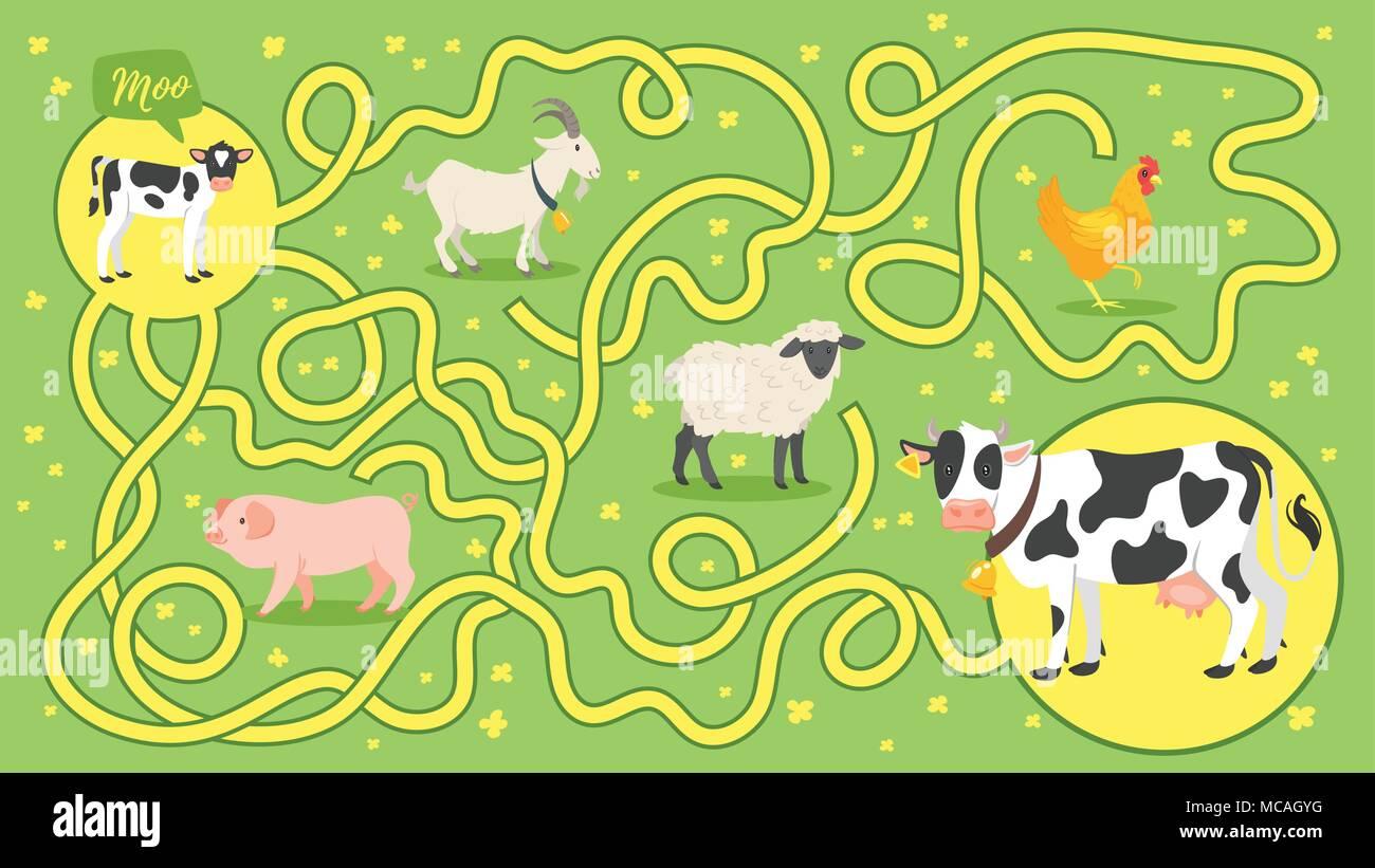 Cartoon Maze Labyrinth Game Stock Photos & Cartoon Maze Labyrinth ...