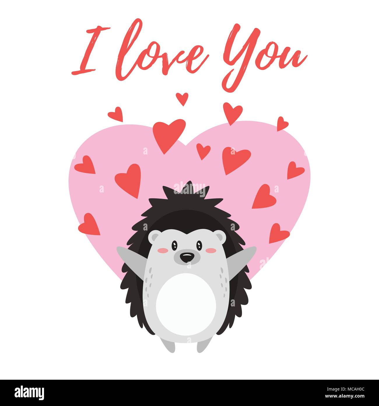 Vector cartoon style illustration of Valentine's day romantic gift card with cute hedgehog surrounded by hearts. I love You text. - Stock Image