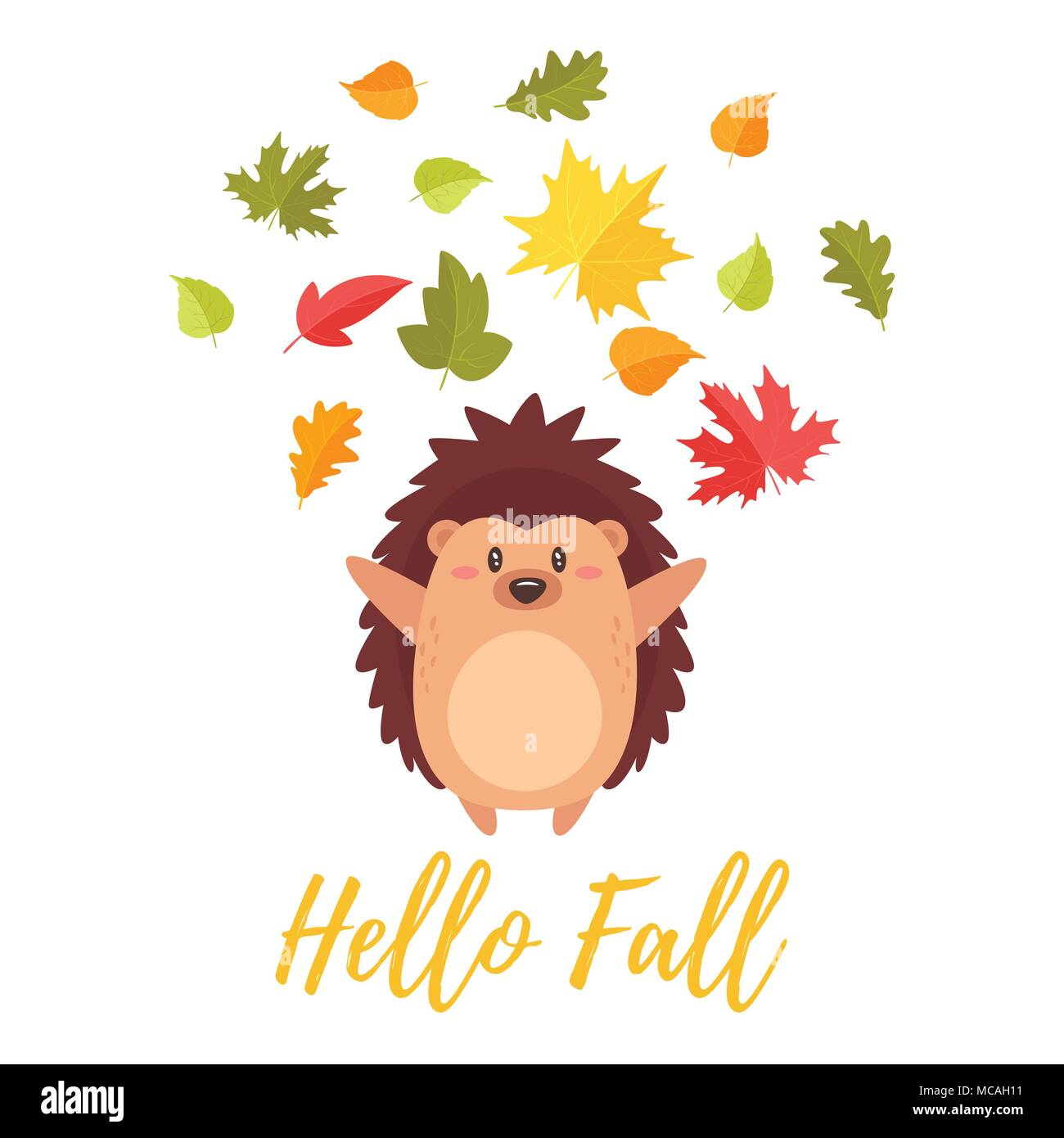 vector cartoon style illustration of cute hedgehog tossing autumn