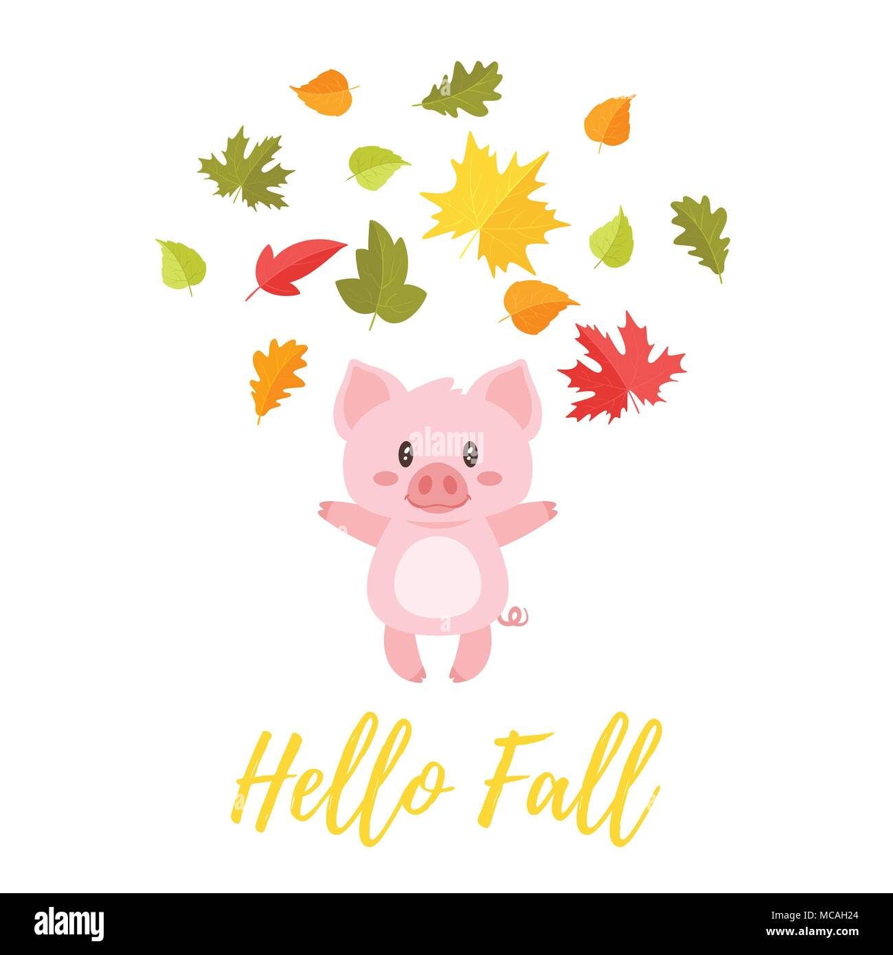 Vector Cartoon Style Illustration Of Cute Pig Tossing Autumn Colorful Leaves In The Air Hello Fall Text Stock Vector Image Art Alamy