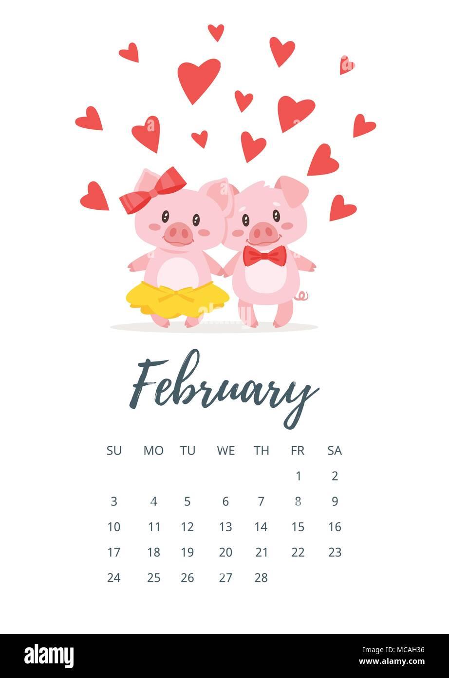 Vector Cartoon Style Illustration Of February 2019 Year Calendar