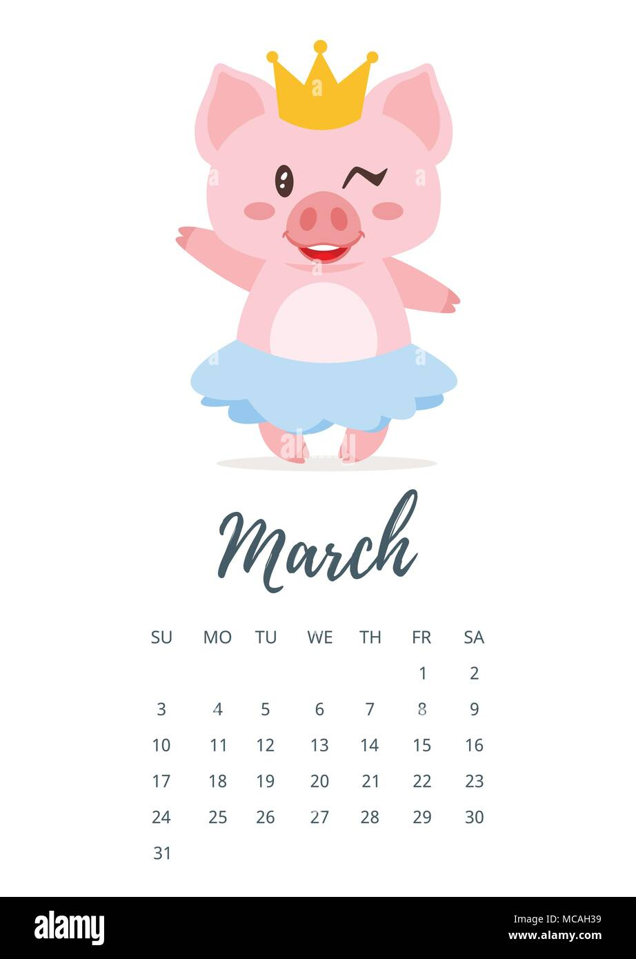Vector cartoon style illustration of March 2019 year calendar page with cute pig girl in skirt and golden crown. Template for print. Stock Vector