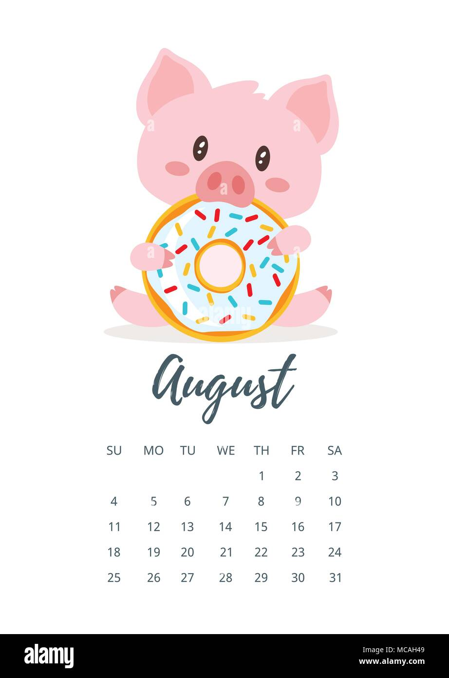 vector cartoon style illustration of august 2019 year calendar page with cute pink pig eating tasty doughnut template for print