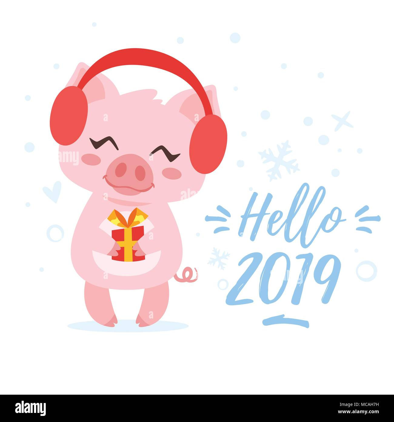 vector cartoon style illustration of happy 2019 new year greeting