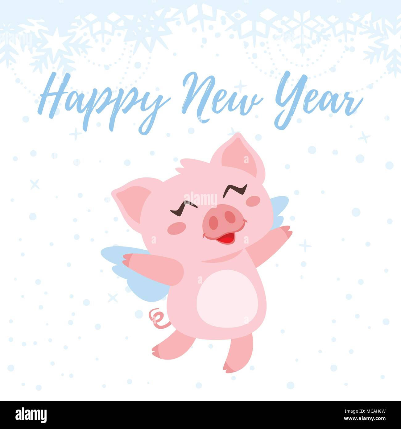 vector cartoon style illustration of happy 2019 new year greeting card with cute pink pig flying in the sky isolated on white background with snowfla