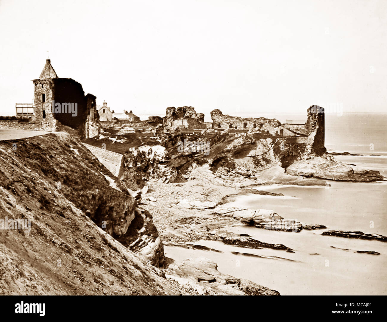 St. Andrews Castle, Scotland, Victorian period - Stock Image