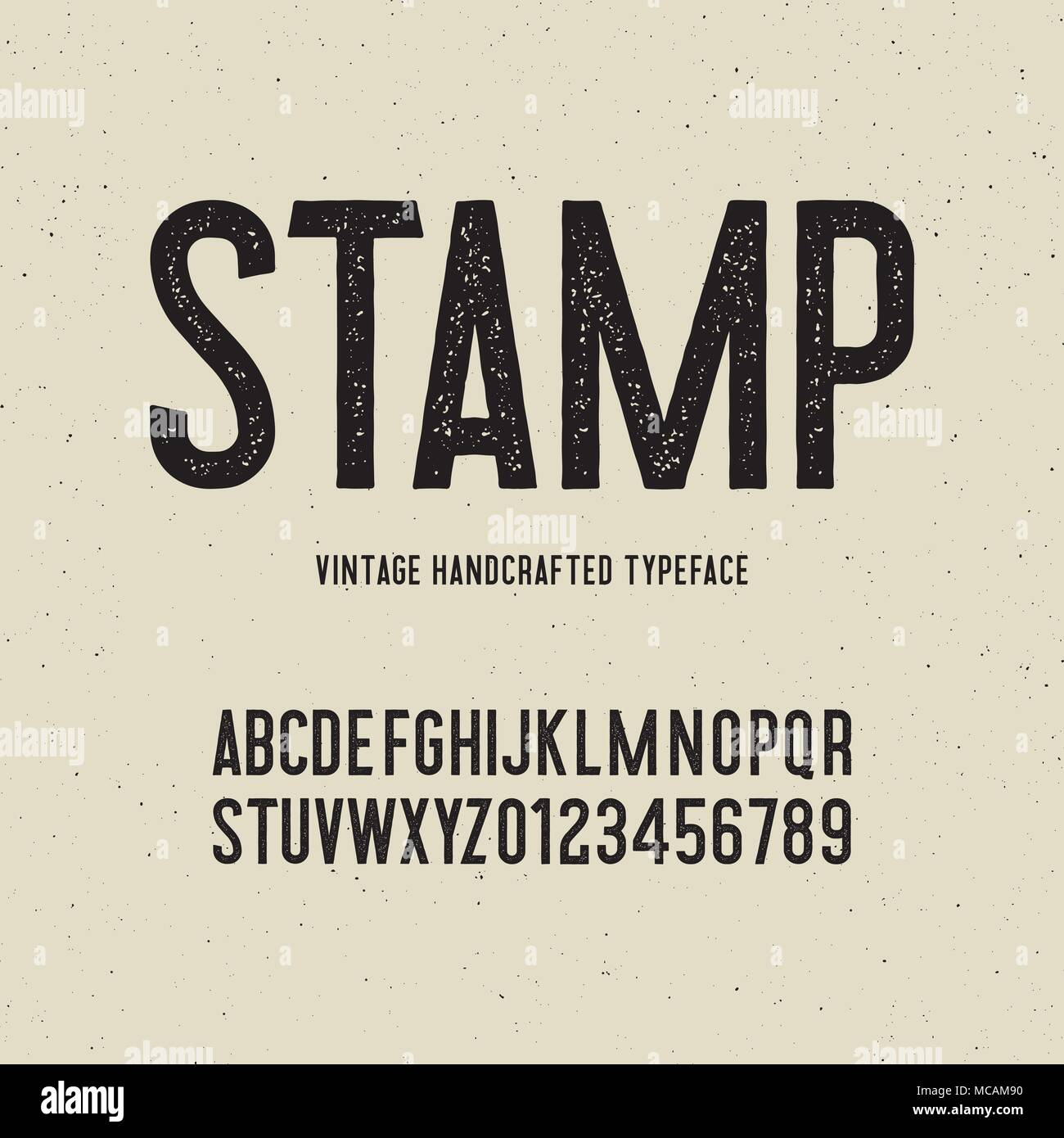 Vintage Handcrafted Typeface With Stamp Effect Vector Illustration