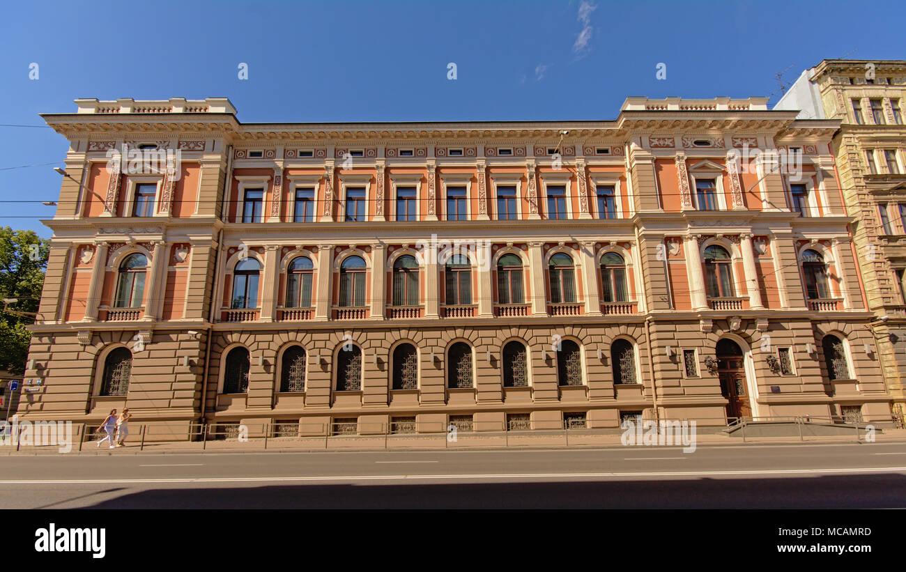 Front facade of a posh neo-renaissance building in Riga, Latvia - Stock Image