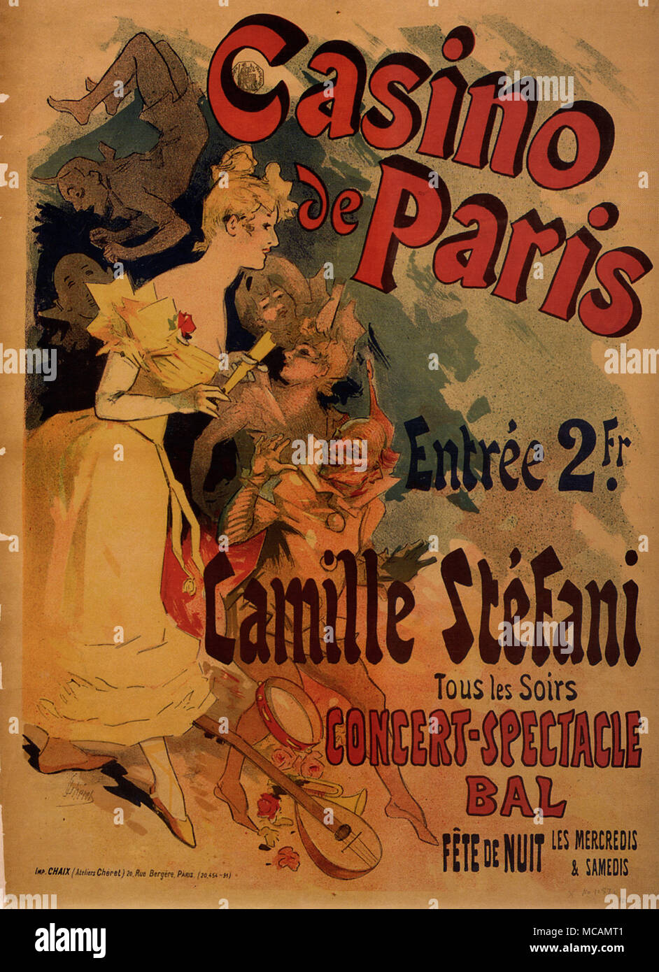 Casino de Paris poster by Jules Ch?ret (1836-1932) for Camille Stefani performing a concert spectacular. - Stock Image