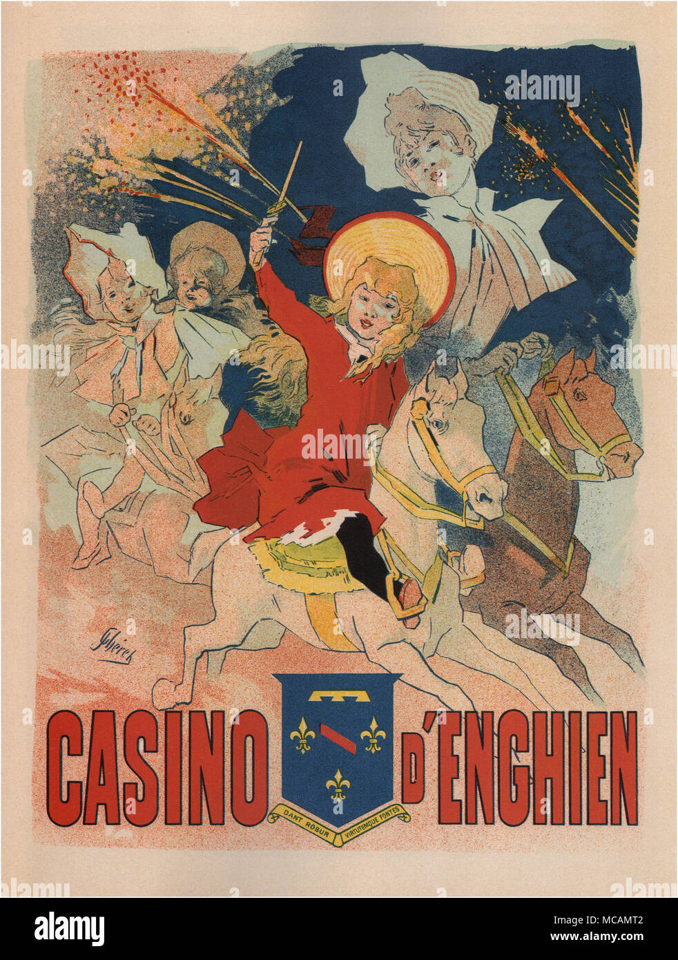 Show posters of the Casino of Enghien.  The crest reads natural springs give strength and virtue about the town of Enghien.  The poster was designed by Jules Ch?ret (1836 ? 1932) was a French painter and lithographer.  He worked on everything from theater to advertising. - Stock Image