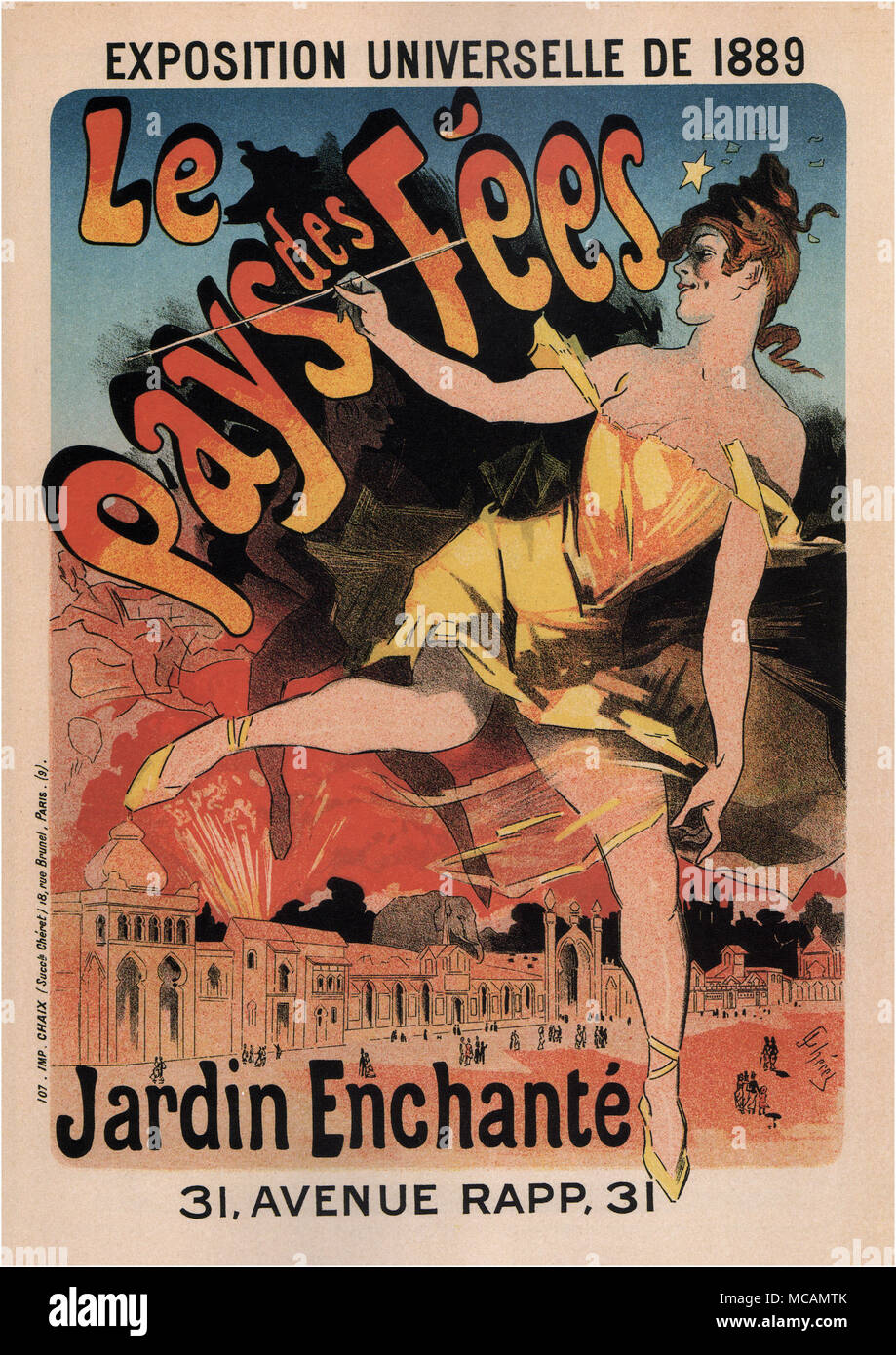 Poster for a Land of Fairies ? Enchanted Garden at the Universal Exposition 1889 in Paris..  Designed by Jules Ch?ret (1836 ? 1932) was a French painter and lithographer.  He worked on everything from theater to advertising. - Stock Image