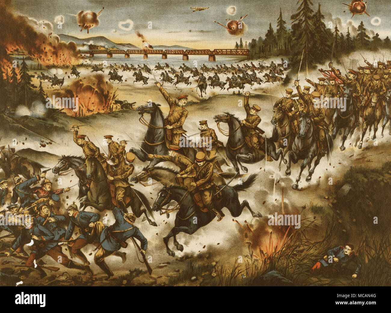 Japanese cavalry taken possession of Khobarovsk pursuing and attacking the enemies - Stock Image
