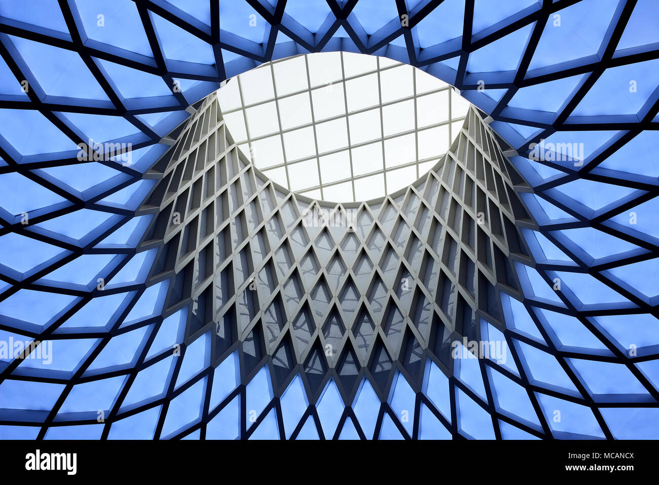 Leeds, West Yorkshire / UK - April 13th 2018: Roof structure of a  sky light in the Victoria Gate shopping centre in Leeds, Yorkshire. UK. - Stock Image