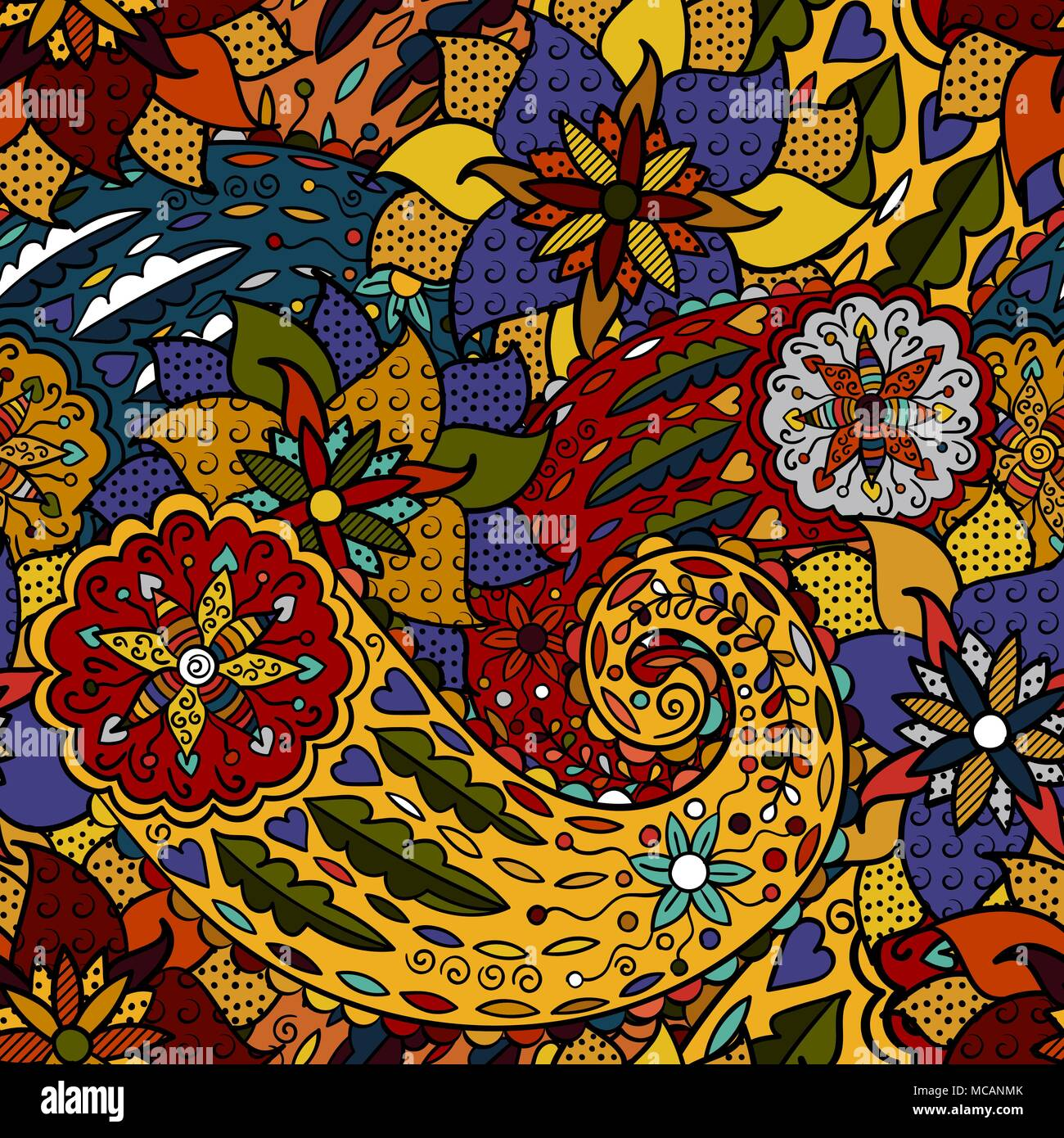 hand drawn colorful aztec pattern with artistic pattern