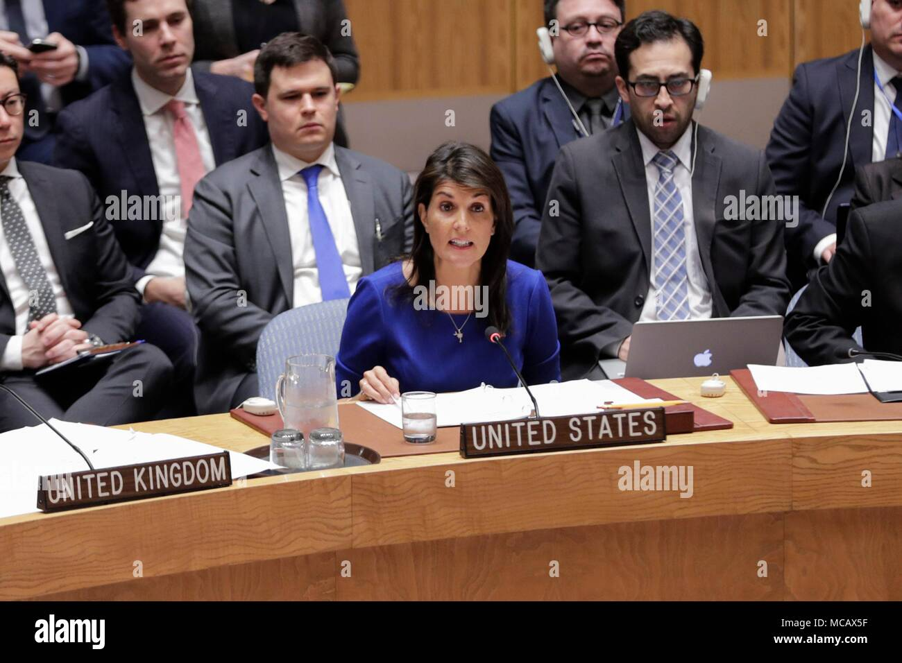 United Nations, New York, USA, April 14 2018 - U.S. Ambassador to the United Nations Nikki Haley during a Security Council meeting on the situation in Syria after air strikes carried out by France, the United Kigdom and the United States today at the UN Headquarters in New York City. Photo: Luiz Rampelotto/EuropaNewswire | usage worldwide - Stock Image