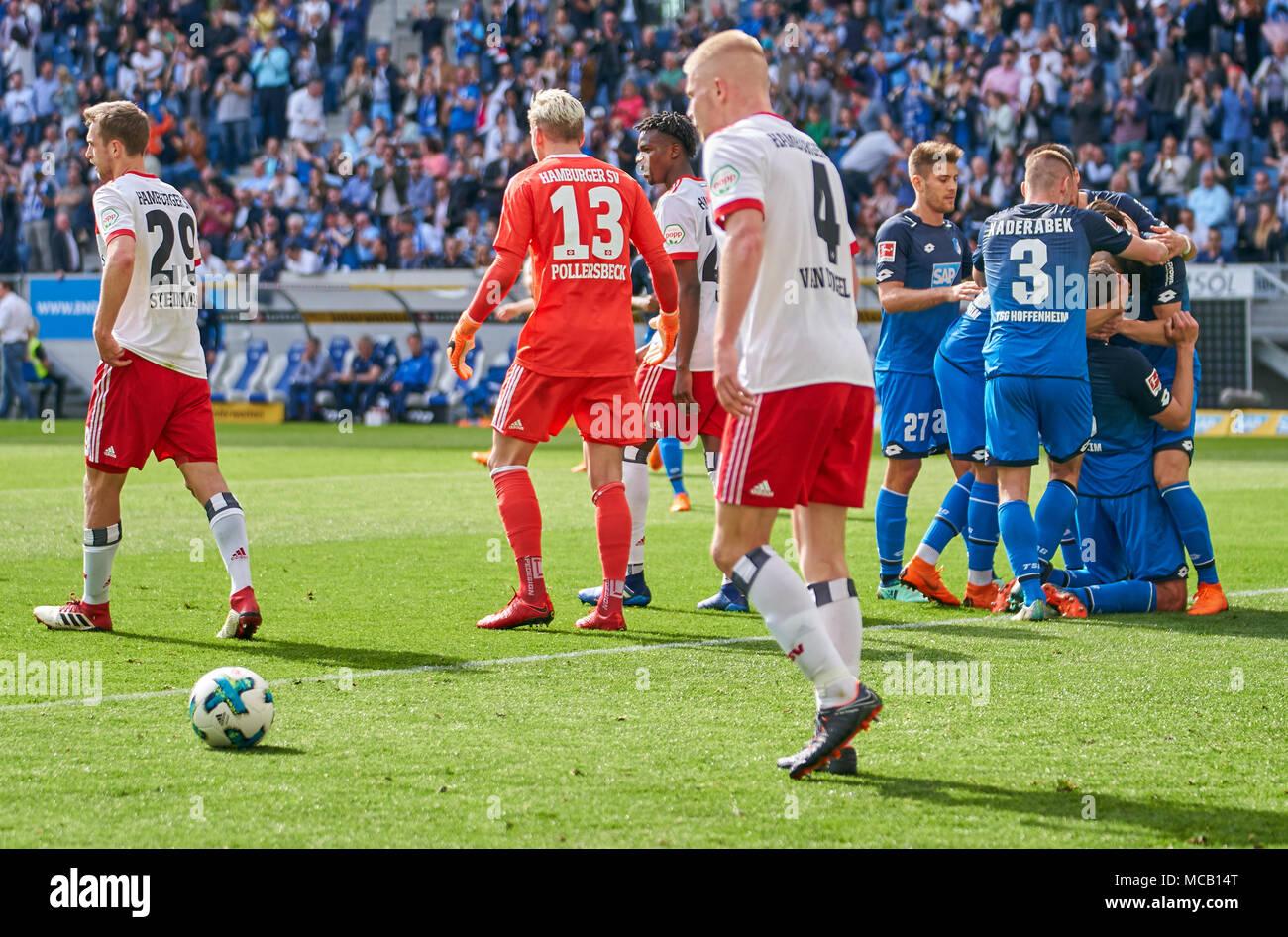 Hoffenheim-Hamburg Soccer, Hoffenheim, April 14, 2018 Adam SZALAI, Hoff 28    celebrates his goal 2-0 with Matti Ville STEINMANN, HSV 29 Julian POLLERSBECK, HSV 13  Rick VAN DRONGELEN, HSV 4 Gideon JUNG, HSV 28 TSG 1899 Hoffenheim - Hamburger SV 2-0 1.Division German Football League, Hoffenheim, April 14, 2018,  Season 2017/2018 © Peter Schatz / Alamy Live News Stock Photo