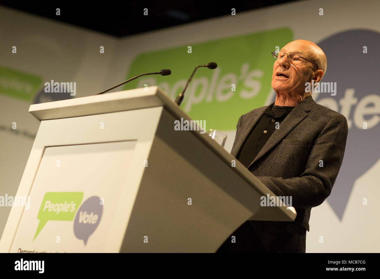 London, UK. 15th April, 2018. Sir Patrick Stewart launching the new People's Vote campaign calling for a public vote on the final Brexit deal before Britain leaves the EU, Camden, north London Credit: Radek Bayek/Alamy Live News Stock Photo