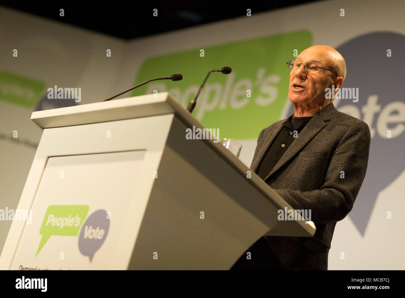 London, UK. 15th April, 2018. Sir Patrick Stewart launching the new People's Vote campaign calling for a public vote on the final Brexit deal before Britain leaves the EU, Camden, north London Credit: Radek Bayek/Alamy Live News - Stock Image