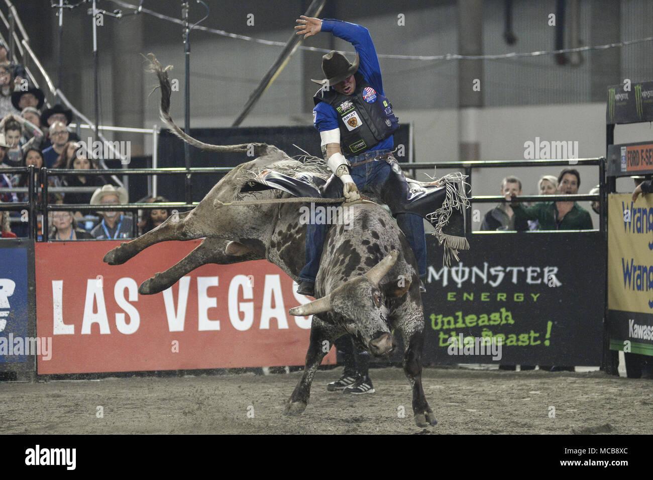 Tacoma, Washington, USA. 14th Apr, 2018. Professional bull rider ...