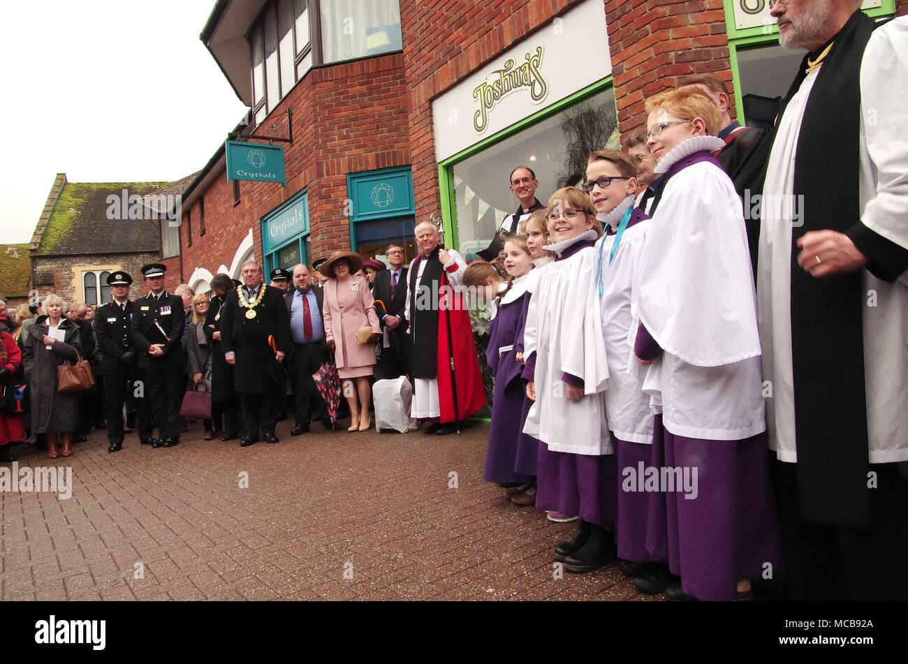 Salisbury, UK 15th April 2018 A Celebration of the Community  Life of the City of Salisbury 15th April 2018. With the chemical attack in Salisbury having an effect on the City of Salisbury. Church leaders, firebrigade, police force, NHS, local shop owners and the community of Salisbury came together to hold service in the Church of St Thomas.  A blessing with the throwing of water over the site near where the recent victims of the chemical attack in Salisbury were found followed the church service. Credit: Haydn Wheeler/Alamy Live News - Stock Image