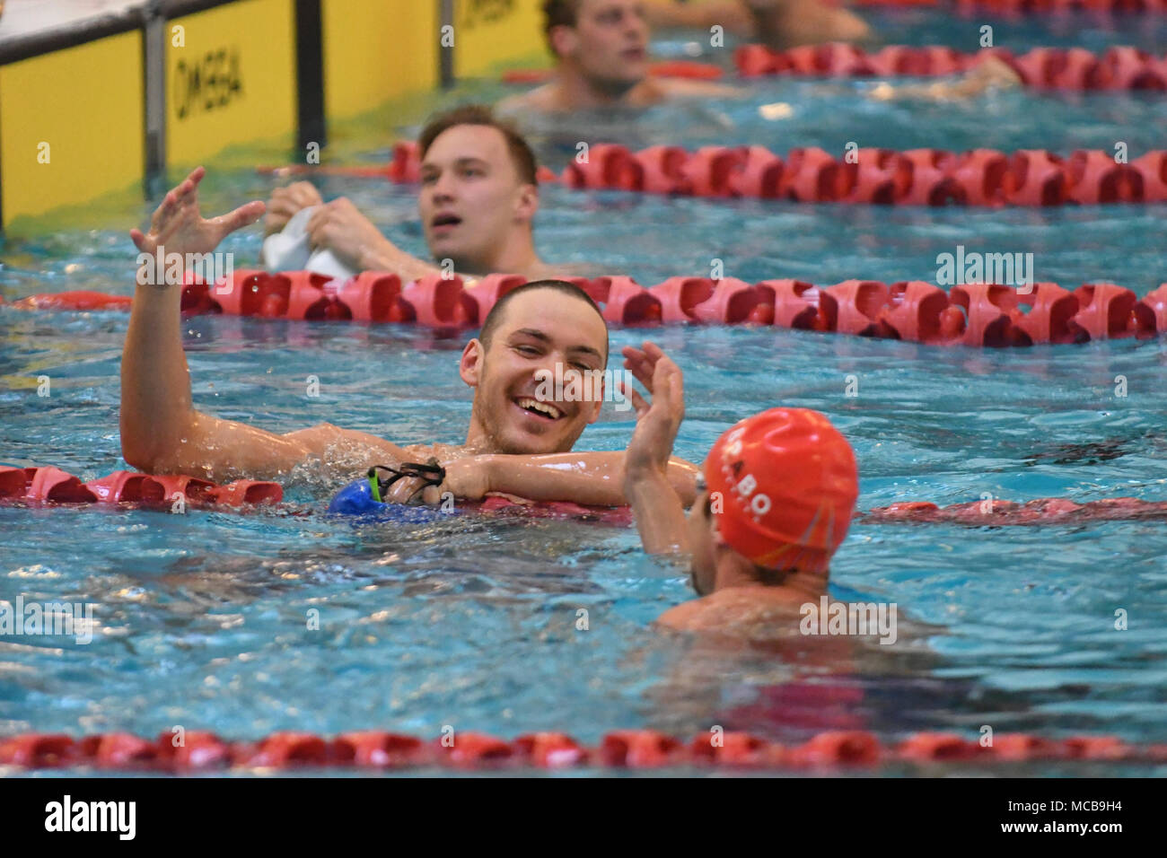 Bergen, Norway. 15th Apr, 2018. Niksja Stojkovski of Bærumsvømmerne Norway was stil happy with 2nd place in the mens 50m final with a 22.44 swim which earned him a new Norwegian national record on the distance. Credit: Kjell Eirik Irgens Henanger/Alamy Live News - Stock Image