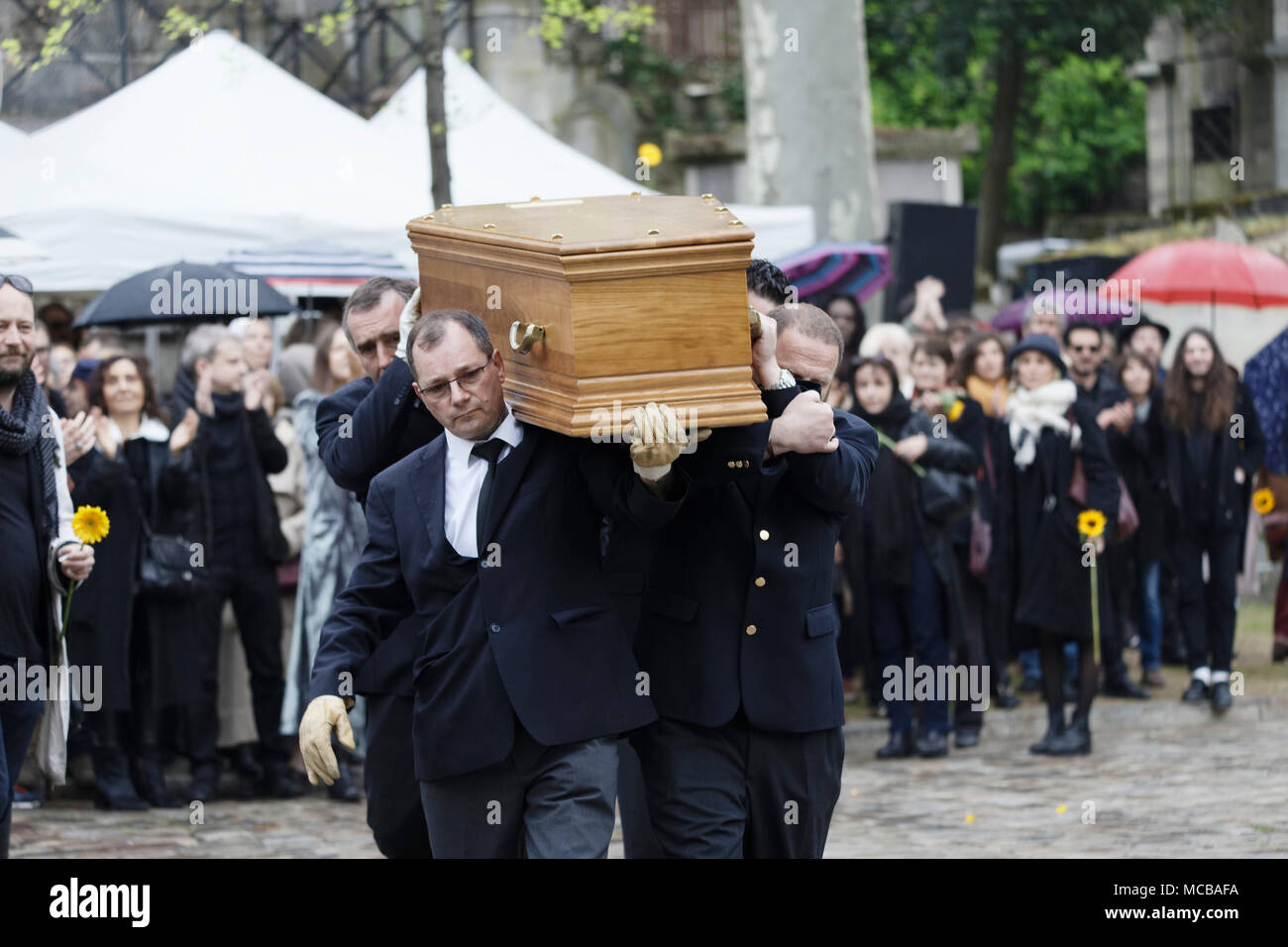 Paris, France. 12th Apr, 2018. Jacques Higelin funeral at the Père-Lachaise cemetery on April 12, 2018 in Paris, France. - Stock Image