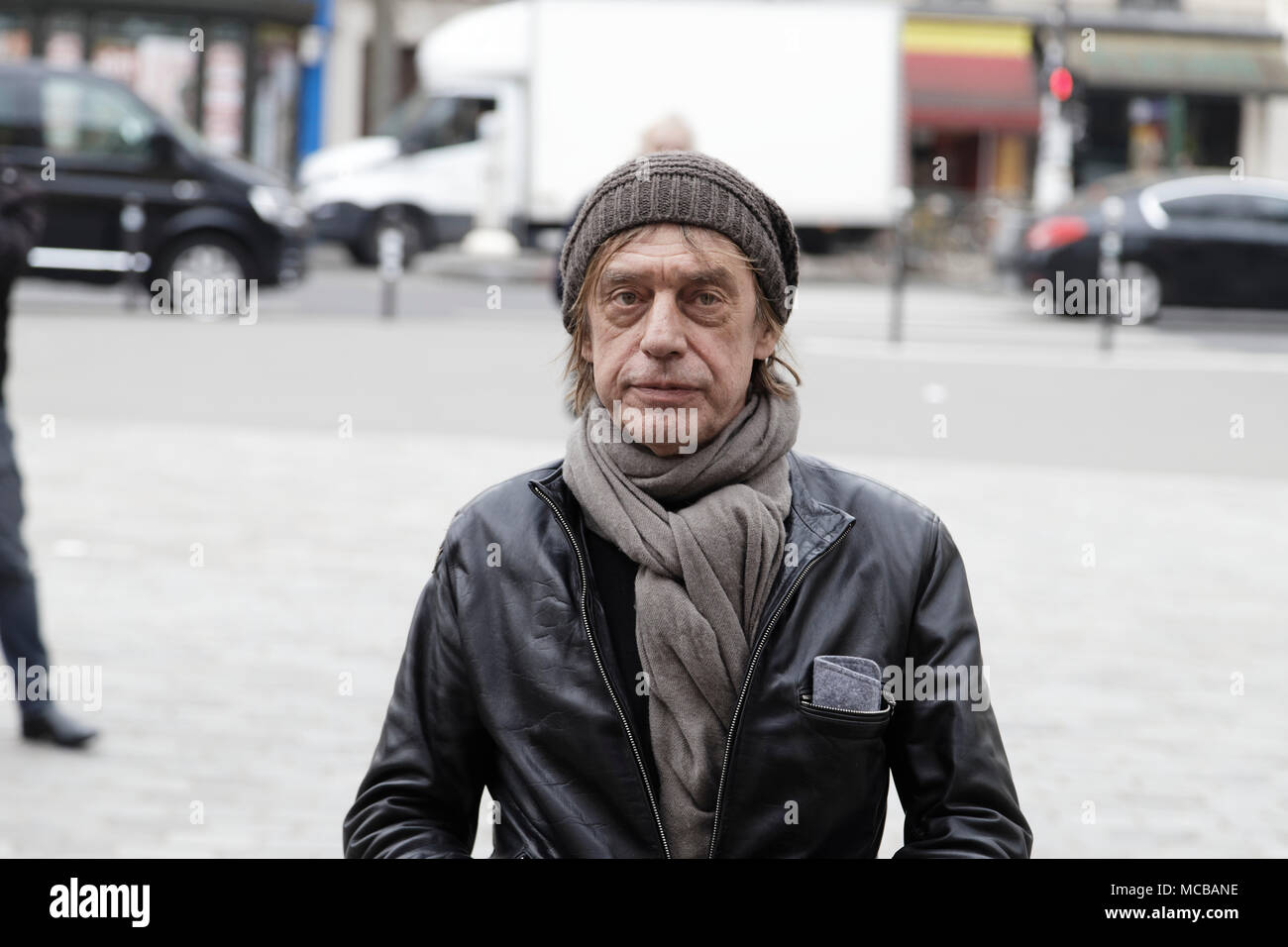 Paris, France. 12th Apr, 2018. Jean-Louis Aubert at the Jacques Higelin funeral at the Cirque d'Hiver on April 12, 2018 in Paris, France. - Stock Image