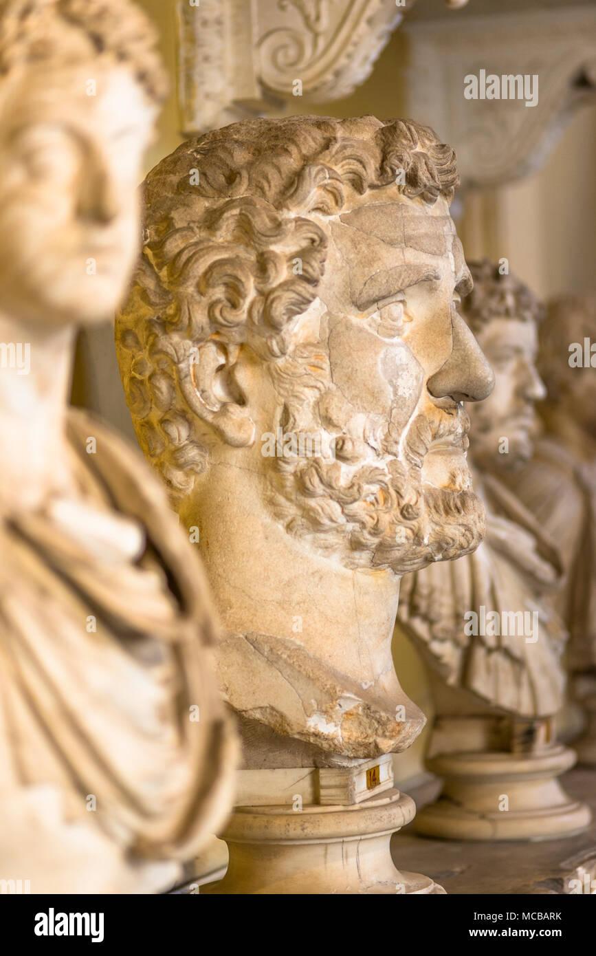Roman busts at Chiaramonti Museum, Vatican Museums. Musei Vaticani. Rome, Italy - Stock Image