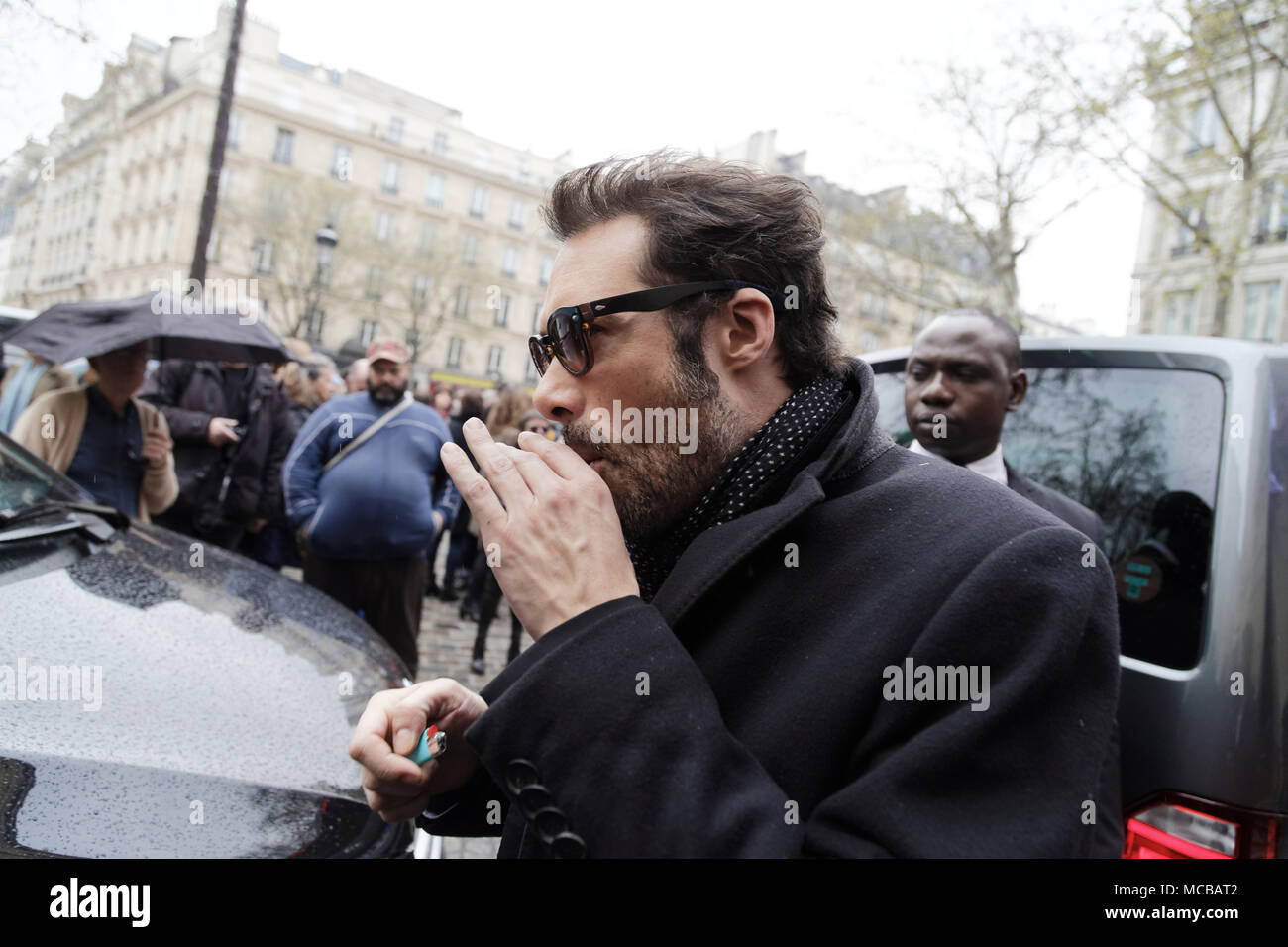 Paris, France. 12th Apr, 2018. Nicolas Bedos at the Jacques Higelin funeral at the Cirque d'Hiver on April 12, 2018 in Paris, France. - Stock Image