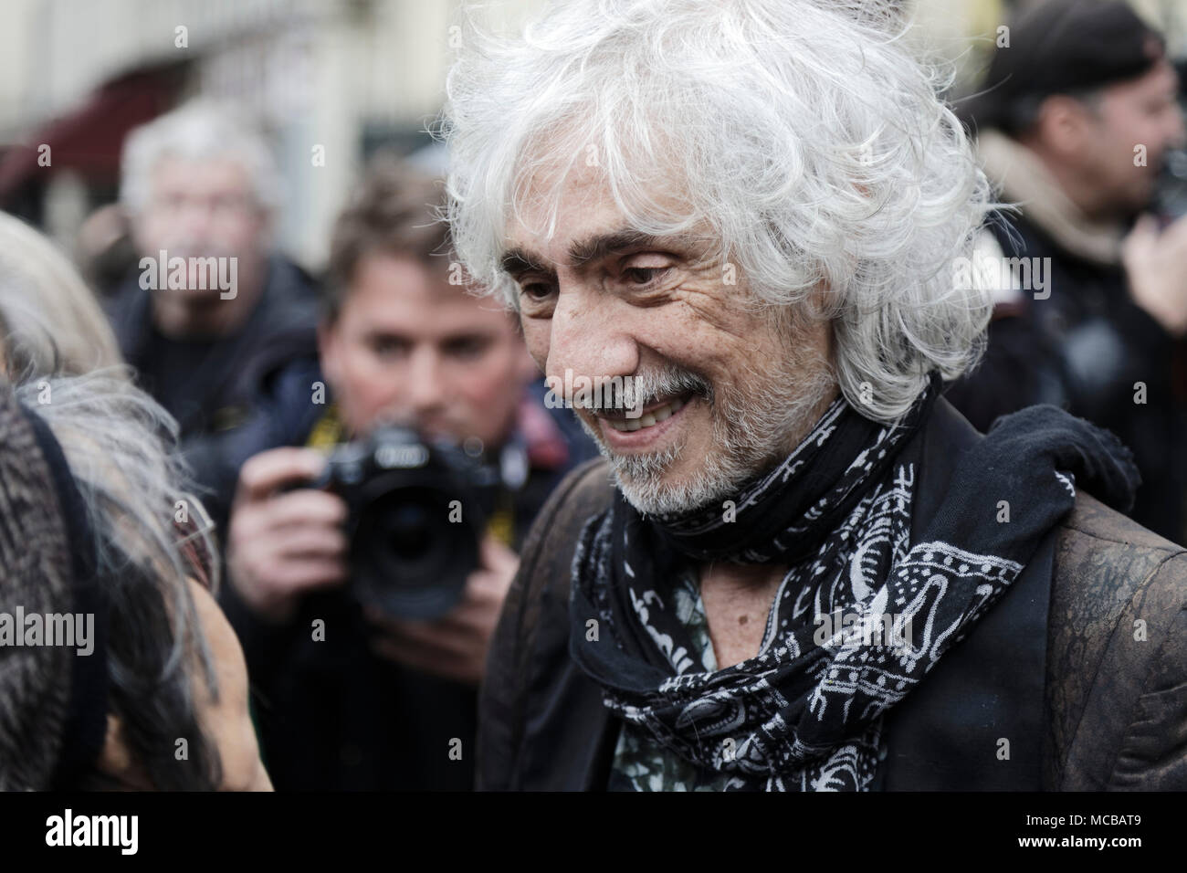 Paris, France. 12th Apr, 2018. Louis Bertignac at the Jacques Higelin funeral at the Cirque d'Hiver on April 12, 2018 in Paris, France. - Stock Image