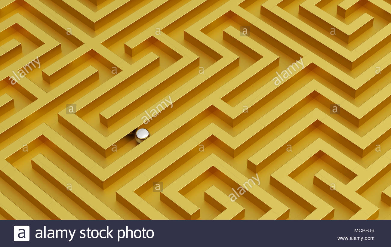 Labyrinth isometric view vivid colors idea golden walls and silver ball - Stock Image