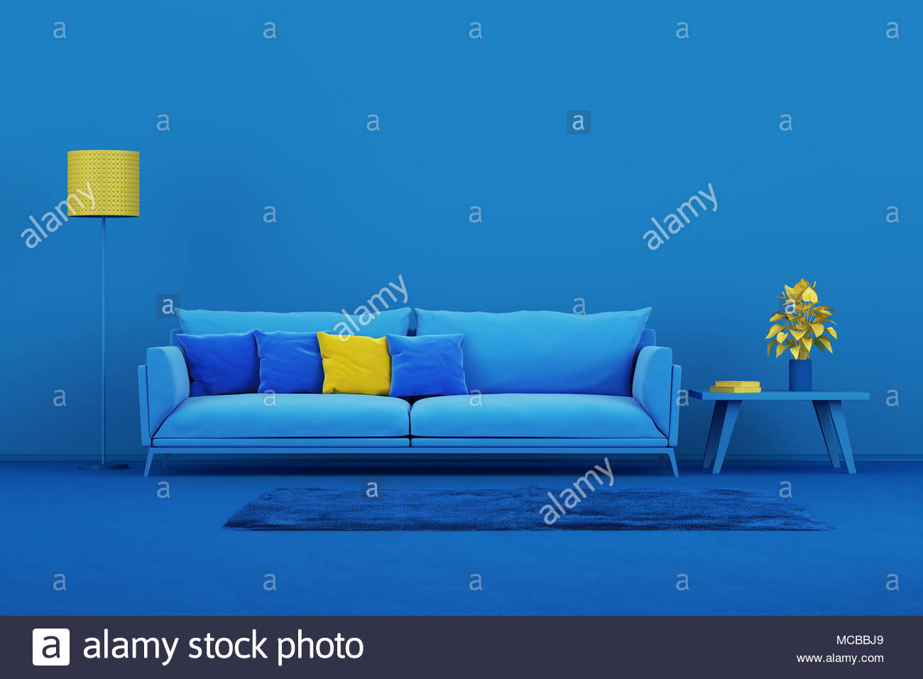 Interior design minimal style concept. Blue modern sofa in blue ...
