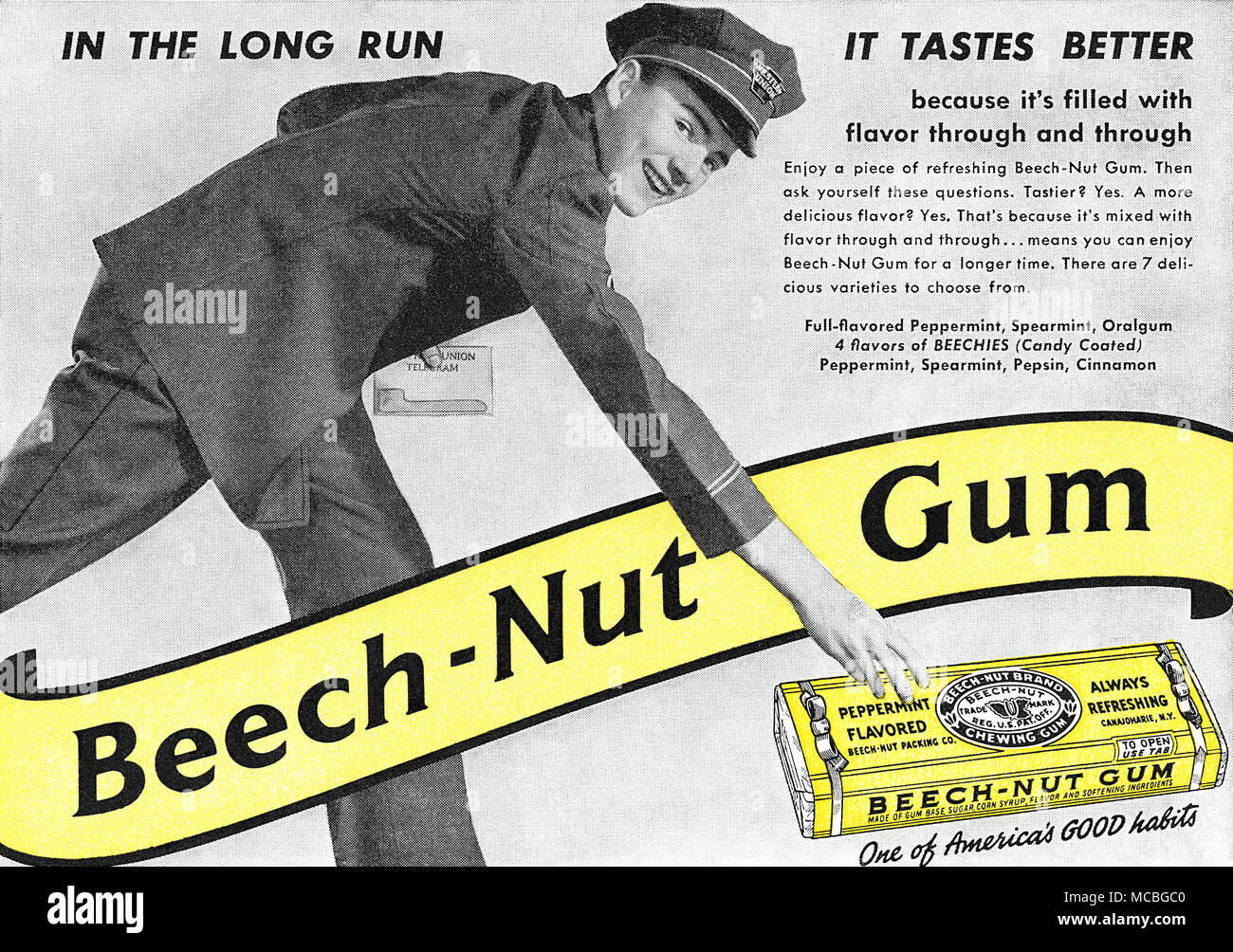 1940 U.S. advertisement for Beech-Nut chewing gum. - Stock Image