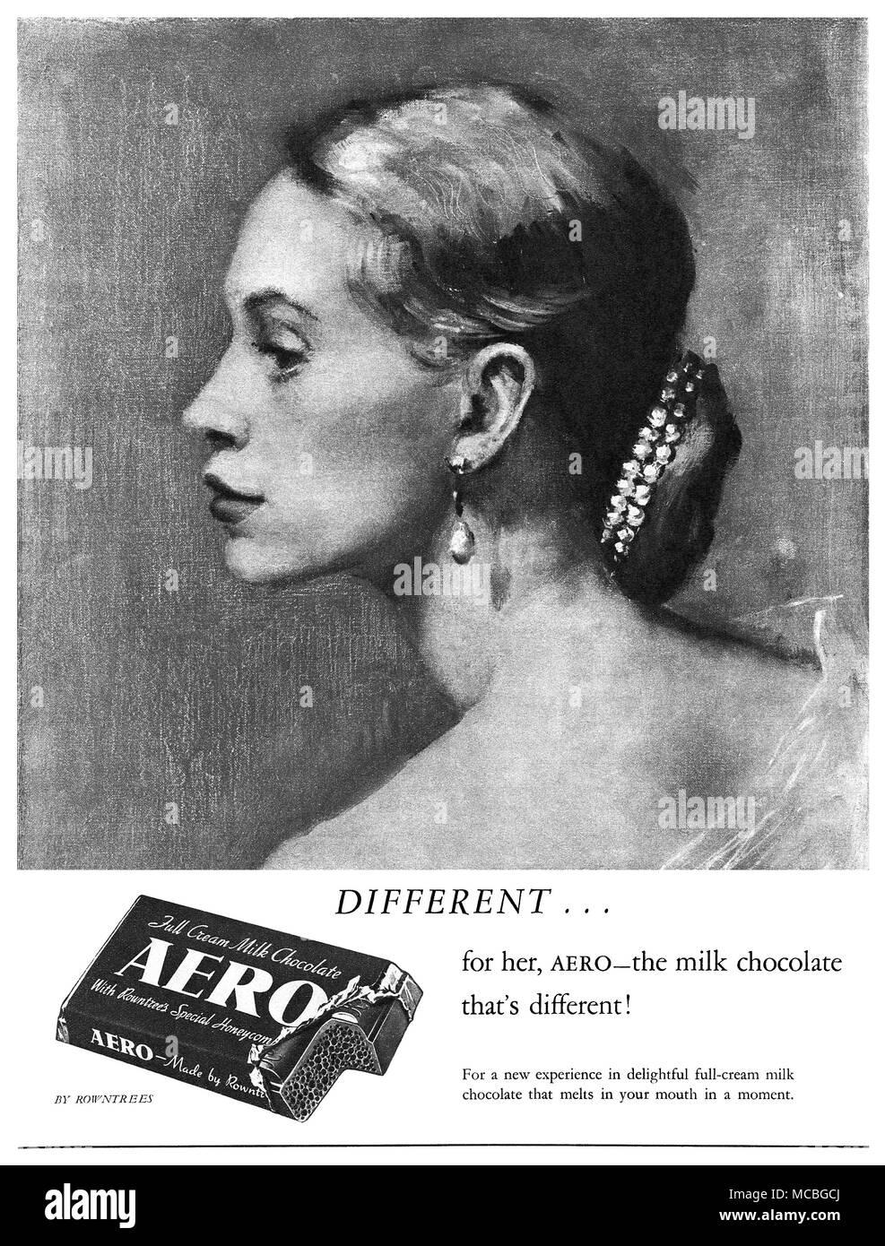 1951 British advertisement for Rowntrees Aero chocolate bar. - Stock Image