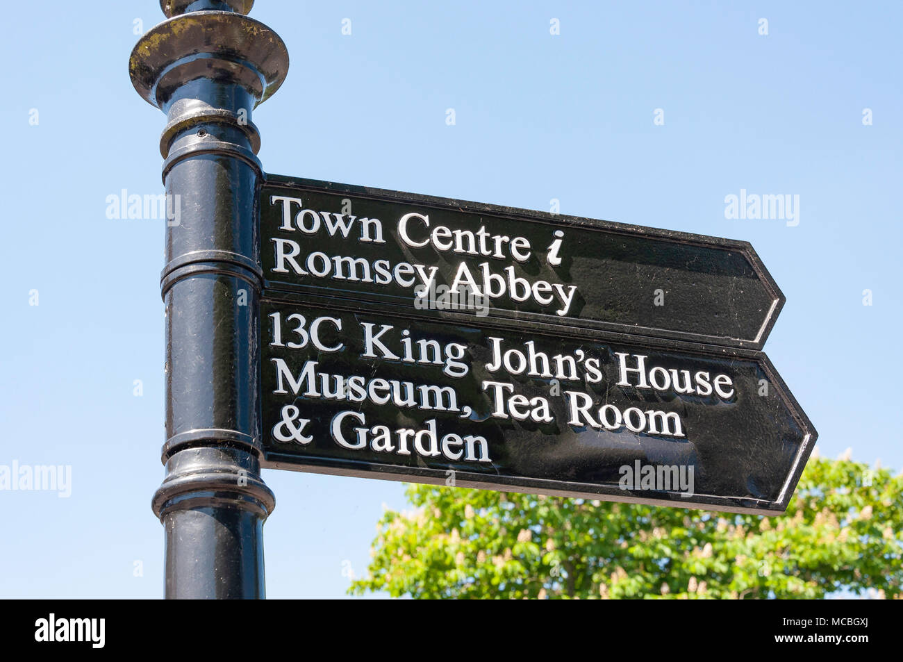 Attraction signpost Romney, Broadwater Road, Hampshire, England, United Kingdom - Stock Image